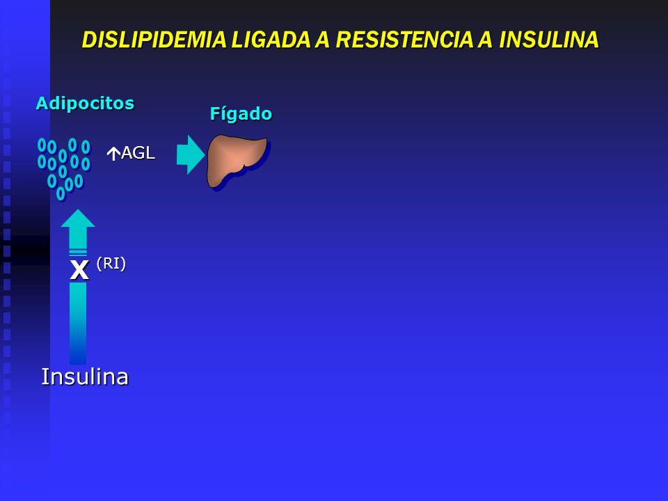 DISLIPIDEMIA LIGADA A RESISTENCIA A INSULINA Adipocitos Fígado Insulina (RI) X AGL AGL