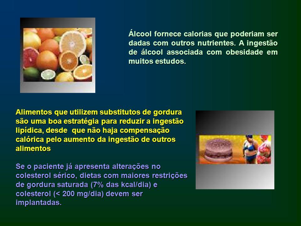 Álcool fornece calorias que poderiam ser dadas com outros nutrientes. A ingestão de álcool associada com obesidade em muitos estudos. Alimentos que ut