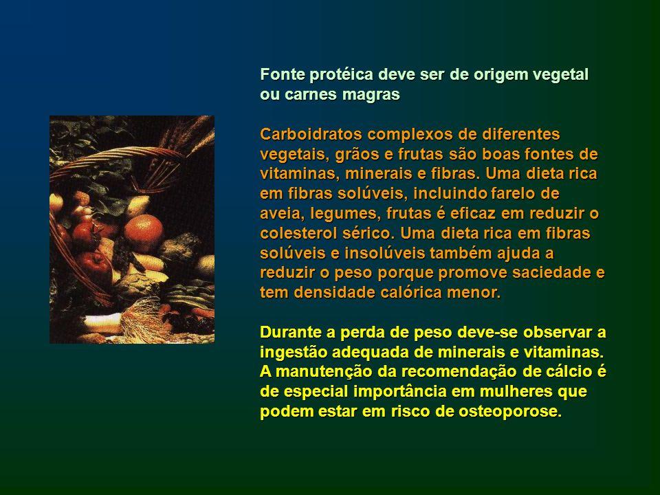 Fonte protéica deve ser de origem vegetal ou carnes magras Carboidratos complexos de diferentes vegetais, grãos e frutas são boas fontes de vitaminas,