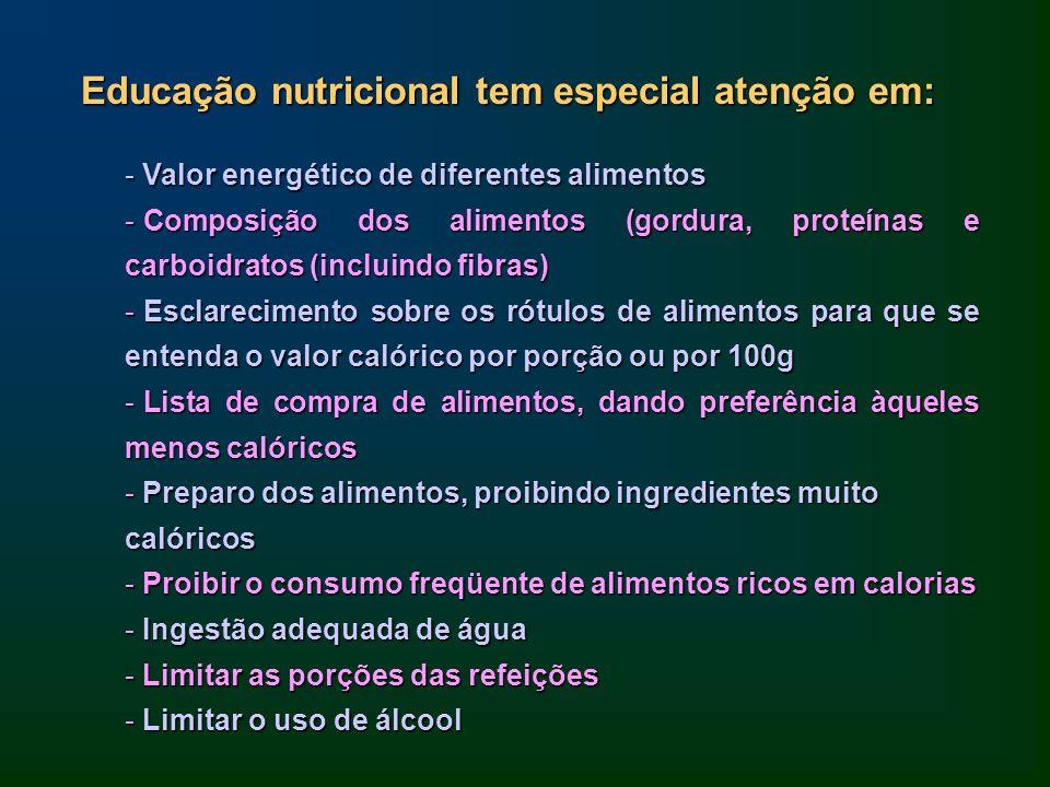 Educação nutricional tem especial atenção em: - Valor energético de diferentes alimentos - Composição dos alimentos (gordura, proteínas e carboidratos