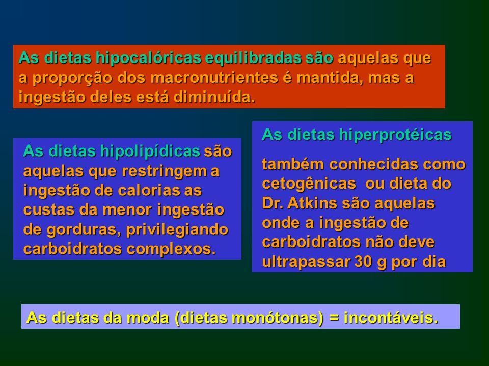 As dietas hipocalóricas equilibradas são aquelas que a proporção dos macronutrientes é mantida, mas a ingestão deles está diminuída. As dietas hipolip