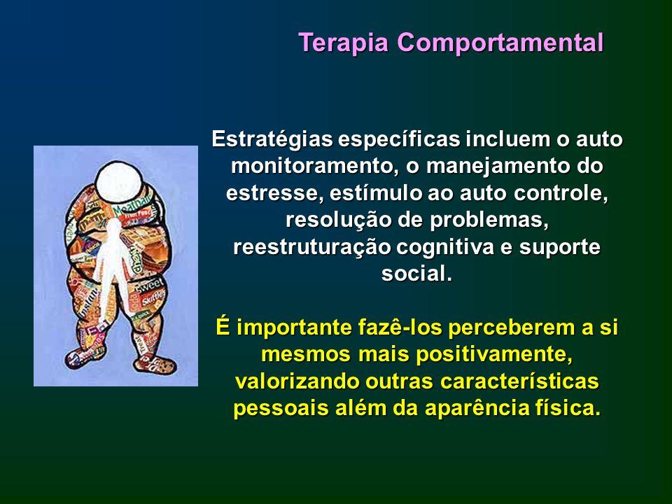 Terapia Comportamental Estratégias específicas incluem o auto monitoramento, o manejamento do estresse, estímulo ao auto controle, resolução de proble