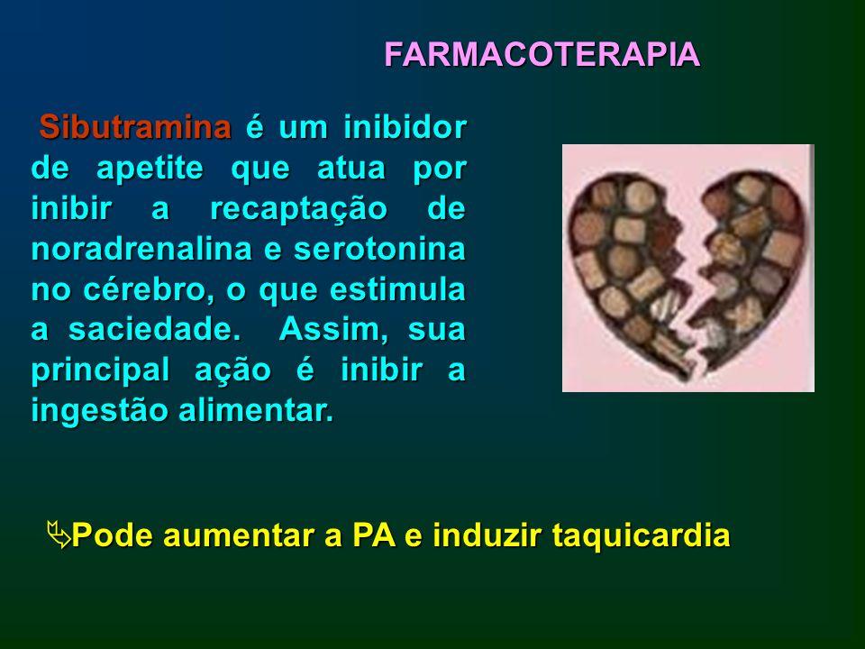 Sibutramina é um inibidor de apetite que atua por inibir a recaptação de noradrenalina e serotonina no cérebro, o que estimula a saciedade. Assim, sua