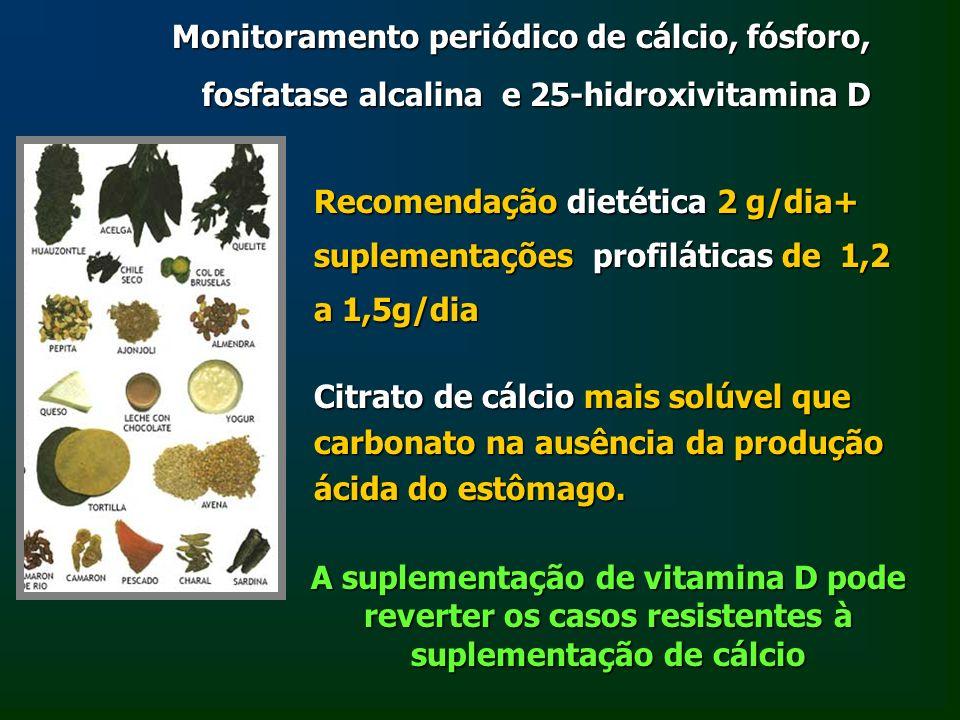 Monitoramento periódico de cálcio, fósforo, fosfatase alcalina e 25-hidroxivitamina D Recomendação dietética 2 g/dia+ suplementações profiláticas de 1