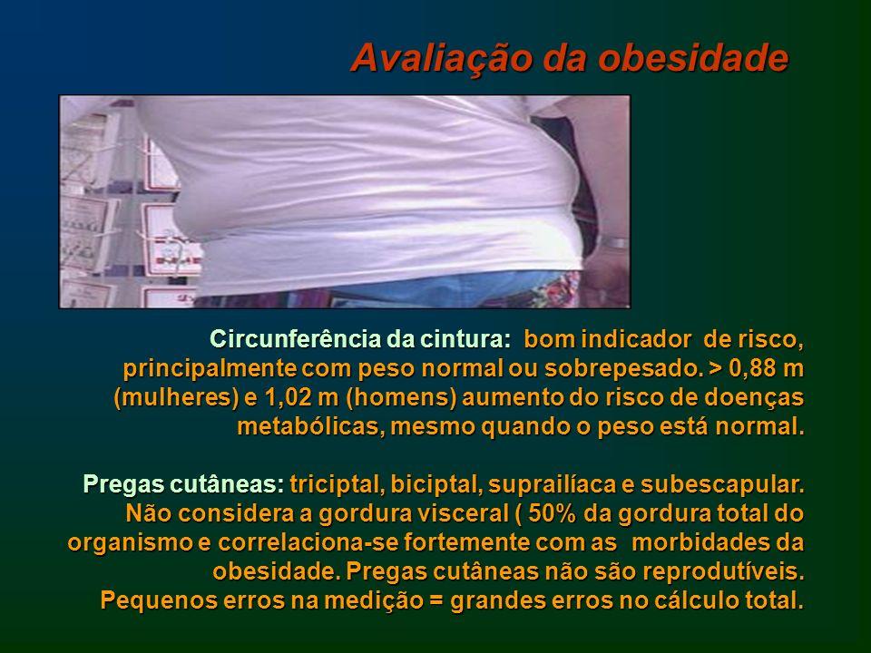 Circunferência da cintura: bom indicador de risco, principalmente com peso normal ou sobrepesado. > 0,88 m (mulheres) e 1,02 m (homens) aumento do ris