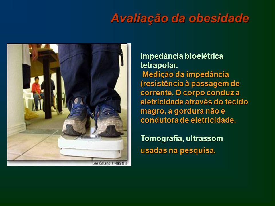 Impedância bioelétrica tetrapolar. Medição da impedância (resistência à passagem de corrente. O corpo conduz a eletricidade através do tecido magro, a