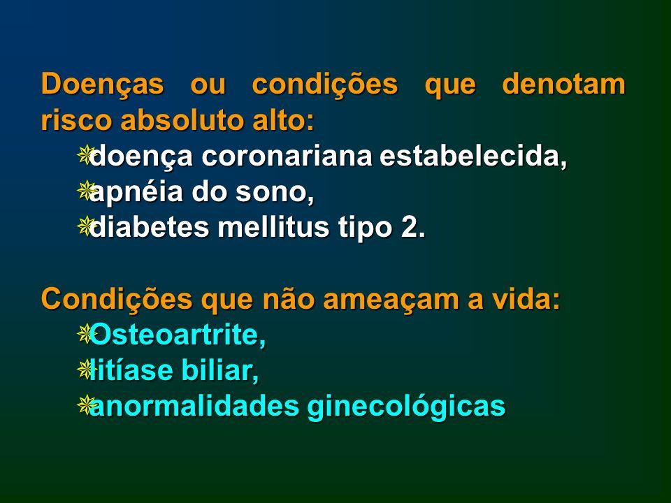 Doenças ou condições que denotam risco absoluto alto: doença coronariana estabelecida, doença coronariana estabelecida, apnéia do sono, apnéia do sono