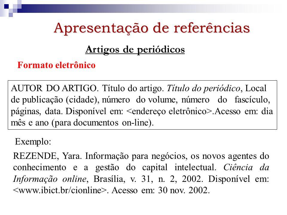 Apresentação de referências Artigos de periódicos Formato eletrônico AUTOR DO ARTIGO. Título do artigo. Título do periódico, Local de publicação (cida