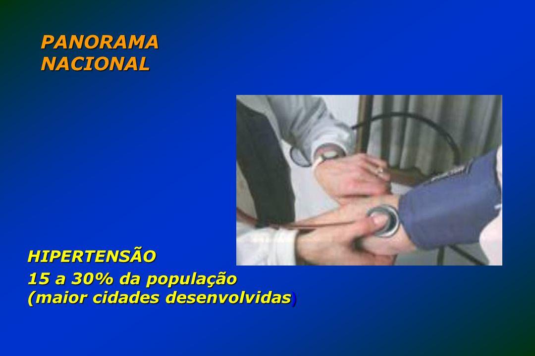 PANORAMA NACIONAL HIPERTENSÃO 15 a 30% da população (maior cidades desenvolvidas )