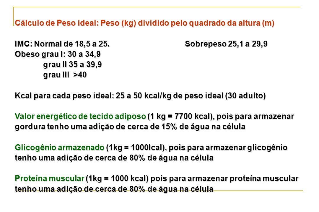 Cálculo de Peso ideal: Peso (kg) dividido pelo quadrado da altura (m) IMC: Normal de 18,5 a 25. Sobrepeso 25,1 a 29,9 Obeso grau I: 30 a 34,9 grau II