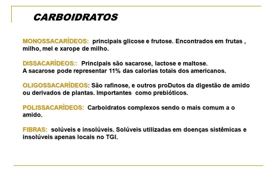 MONOSSACARÍDEOS: principais glicose e frutose. Encontrados em frutas, milho, mel e xarope de milho. DISSACARÍDEOS:Principais são sacarose, lactose e m