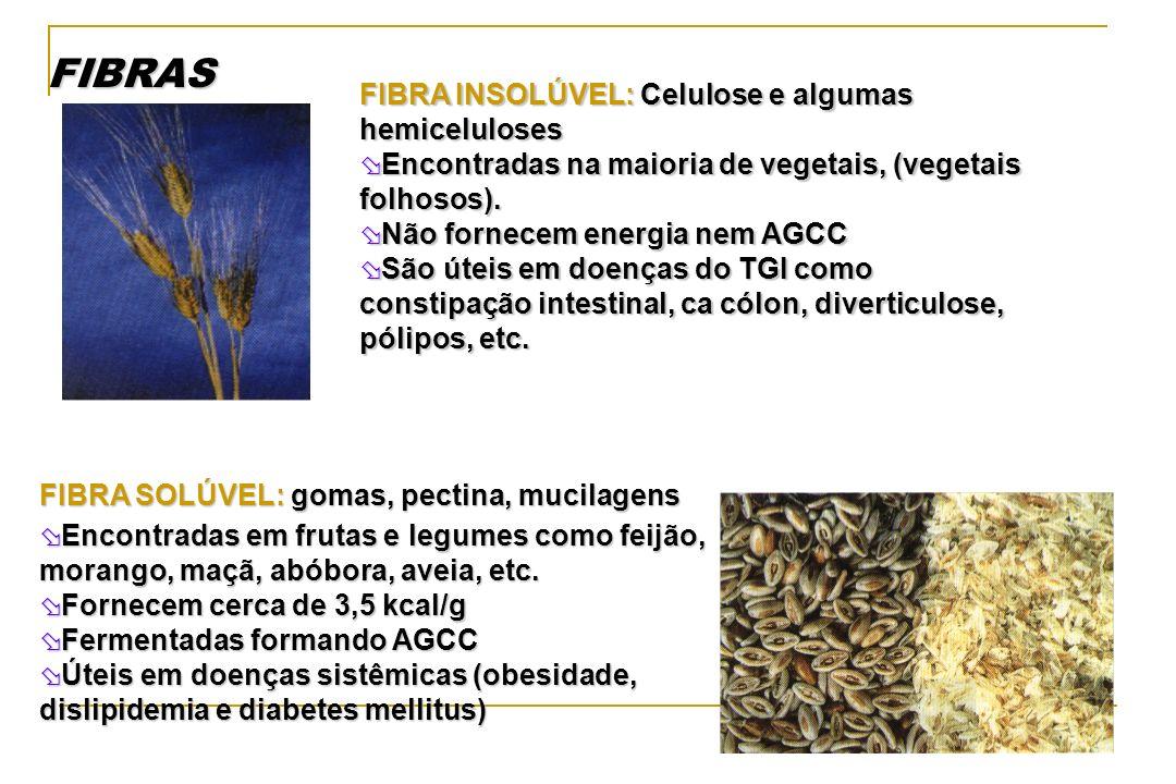 FIBRAS FIBRA INSOLÚVEL: Celulose e algumas hemiceluloses Encontradas na maioria de vegetais, (vegetais folhosos). Encontradas na maioria de vegetais,