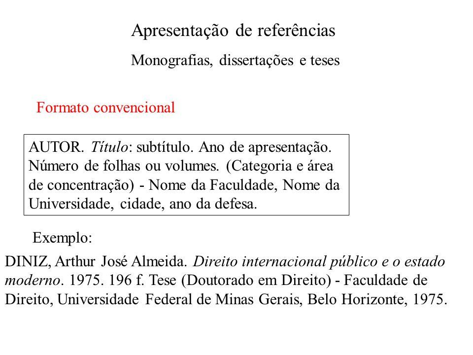 Apresentação de referências Monografias, dissertações e teses Formato convencional AUTOR. Título: subtítulo. Ano de apresentação. Número de folhas ou
