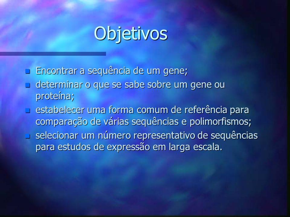 Objetivos n Encontrar a sequência de um gene; n determinar o que se sabe sobre um gene ou proteína; n estabelecer uma forma comum de referência para comparação de várias sequências e polimorfismos; n selecionar um número representativo de sequências para estudos de expressão em larga escala.