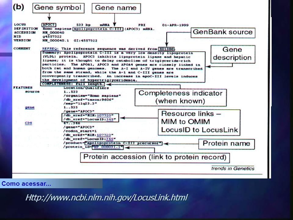 Análise do LocusLink n O LocusLink mantém informações descritivas sobre umloci incluindo nomenclatura, identificador de bancos de dados (locus ID), doenças associadas, posições no mapa e acréscimo de sequências; n O LocusLink mantém ligações diretas para facilitar pesquisas na PubMed, OMIM, RefSeq, GenBank, UniGene e dbSNP.