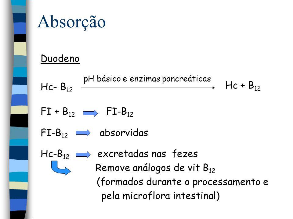Absorção Íleo Sangue TC-II–B 12 Tecidos B 12 B 12 B 12 FI FI IFCR B 12 + TC-II B 12 + TC-I TC-I–B 12 TC-II–B 12 TC-I–B 12 Fígado