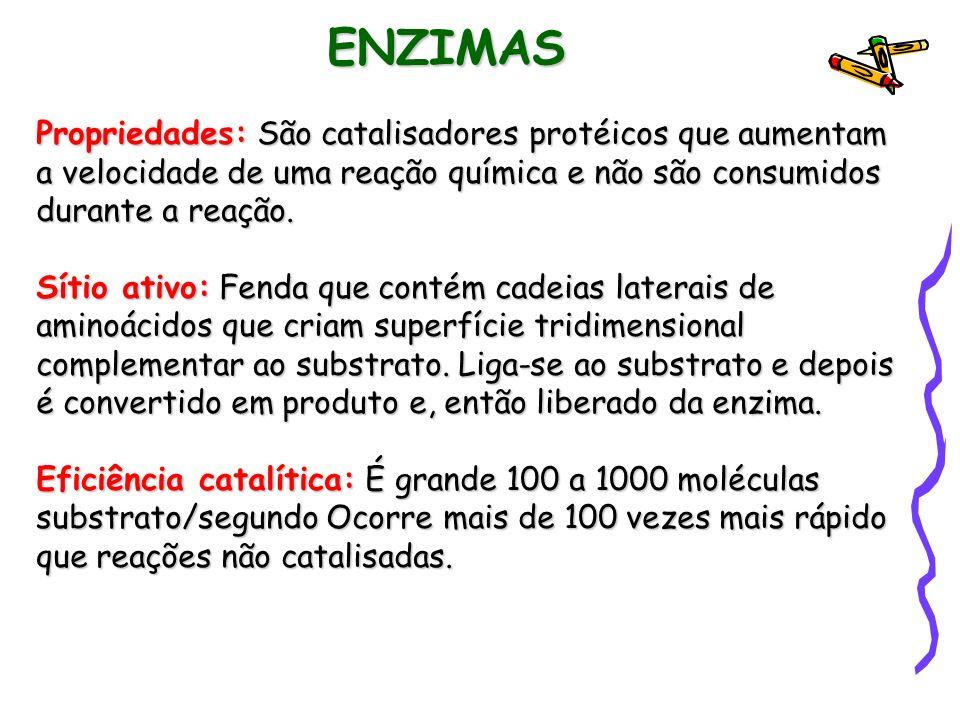 ENZIMAS Propriedades: São catalisadores protéicos que aumentam a velocidade de uma reação química e não são consumidos durante a reação.