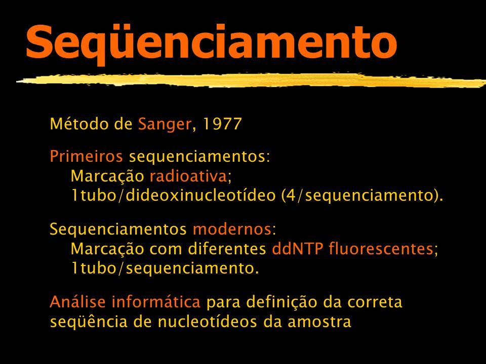 Seqüenciamento Método de Sanger, 1977 Primeiros sequenciamentos: Marcação radioativa; 1tubo/dideoxinucleotídeo (4/sequenciamento). Sequenciamentos mod