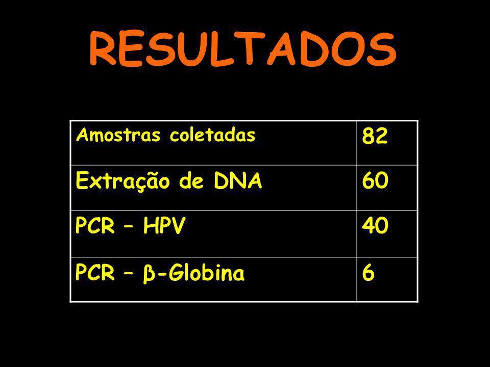 RESULTADOS Amostras coletadas 82 Extração de DNA60 PCR – HPV40 PCR – β-Globina6