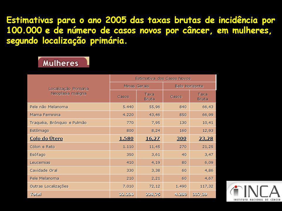 Estimativas para o ano 2005 das taxas brutas de incidência por 100.000 e de número de casos novos por câncer, em mulheres, segundo localização primária.