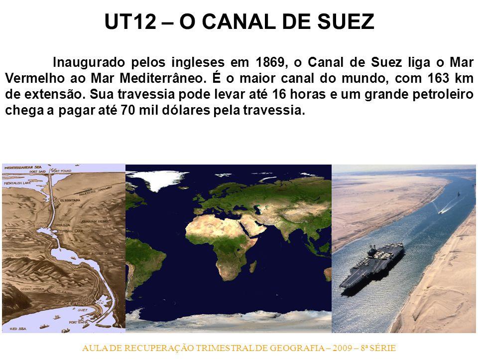 AULA DE RECUPERAÇÃO TRIMESTRAL DE GEOGRAFIA – 2009 – 8ª SÉRIE UT12 – O CANAL DE SUEZ Inaugurado pelos ingleses em 1869, o Canal de Suez liga o Mar Ver
