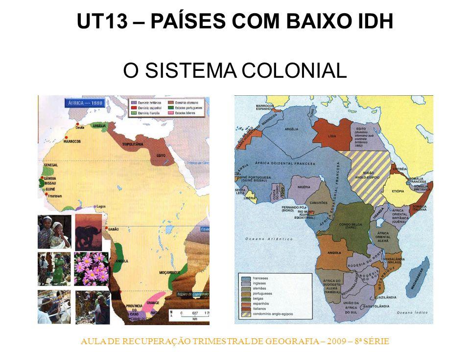 AULA DE RECUPERAÇÃO TRIMESTRAL DE GEOGRAFIA – 2009 – 8ª SÉRIE UT13 – PAÍSES COM BAIXO IDH O SISTEMA COLONIAL