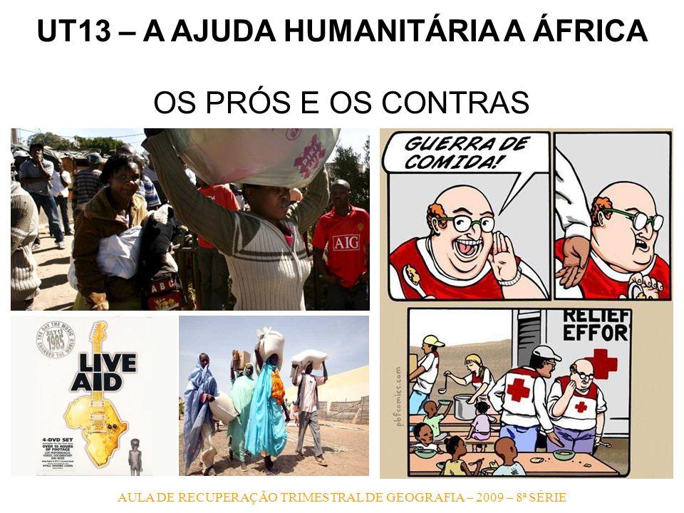 AULA DE RECUPERAÇÃO TRIMESTRAL DE GEOGRAFIA – 2009 – 8ª SÉRIE UT13 – A AJUDA HUMANITÁRIA A ÁFRICA OS PRÓS E OS CONTRAS
