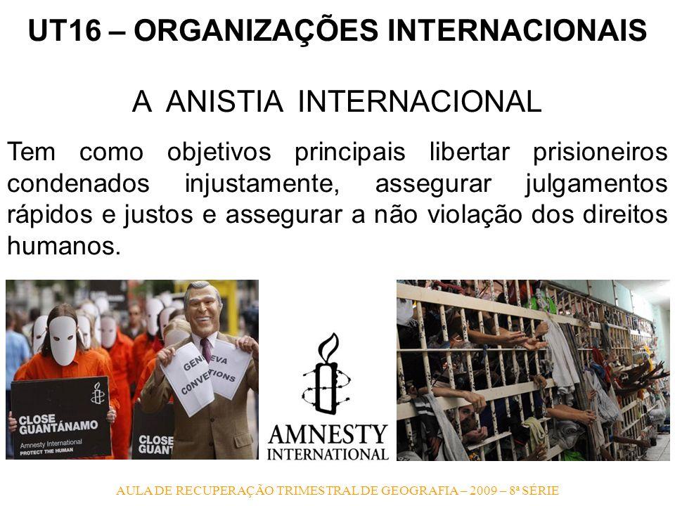 AULA DE RECUPERAÇÃO TRIMESTRAL DE GEOGRAFIA – 2009 – 8ª SÉRIE UT16 – ORGANIZAÇÕES INTERNACIONAIS A ANISTIA INTERNACIONAL Tem como objetivos principais