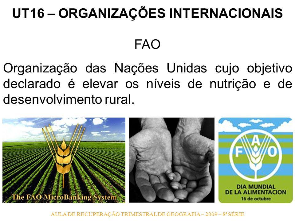 AULA DE RECUPERAÇÃO TRIMESTRAL DE GEOGRAFIA – 2009 – 8ª SÉRIE UT16 – ORGANIZAÇÕES INTERNACIONAIS FAO Organização das Nações Unidas cujo objetivo decla