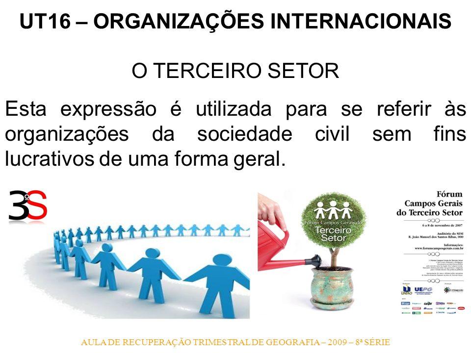AULA DE RECUPERAÇÃO TRIMESTRAL DE GEOGRAFIA – 2009 – 8ª SÉRIE UT16 – ORGANIZAÇÕES INTERNACIONAIS O TERCEIRO SETOR Esta expressão é utilizada para se r
