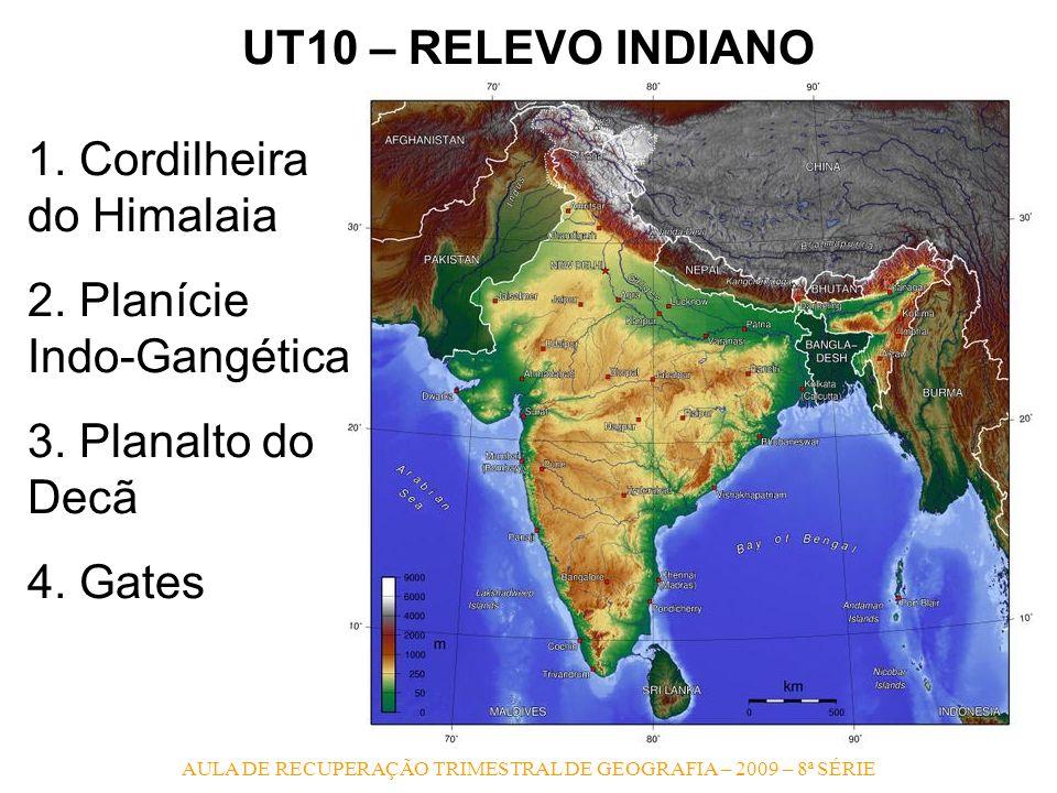 AULA DE RECUPERAÇÃO TRIMESTRAL DE GEOGRAFIA – 2009 – 8ª SÉRIE UT10 – RELEVO INDIANO 1. Cordilheira do Himalaia 2. Planície Indo-Gangética 3. Planalto
