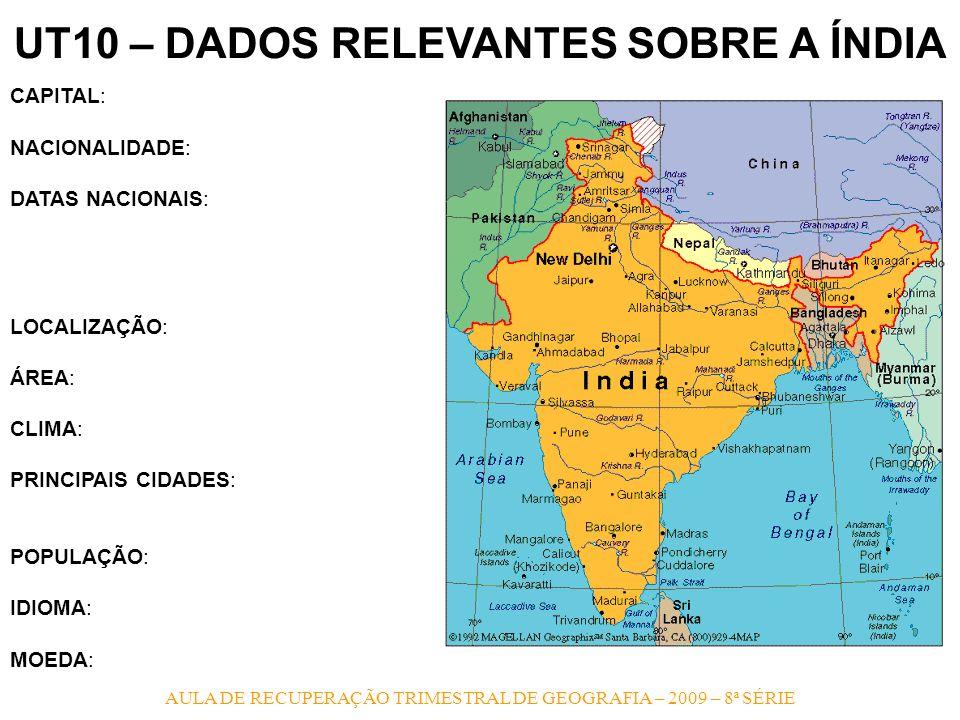AULA DE RECUPERAÇÃO TRIMESTRAL DE GEOGRAFIA – 2009 – 8ª SÉRIE UT10 – DADOS RELEVANTES SOBRE A ÍNDIA CAPITAL: NACIONALIDADE: DATAS NACIONAIS: LOCALIZAÇ