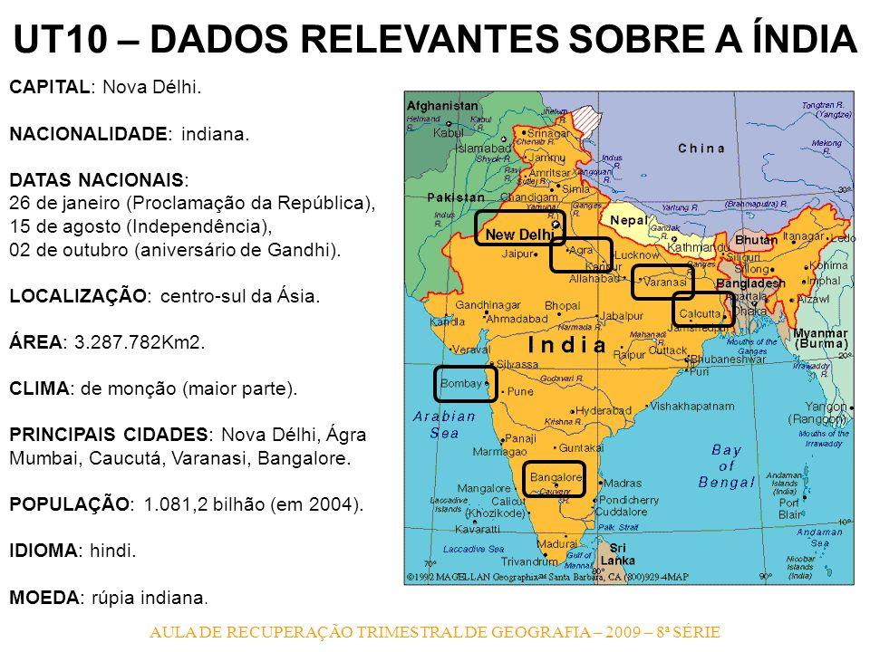 AULA DE RECUPERAÇÃO TRIMESTRAL DE GEOGRAFIA – 2009 – 8ª SÉRIE UT10 – DADOS RELEVANTES SOBRE A ÍNDIA CAPITAL: Nova Délhi. NACIONALIDADE: indiana. DATAS