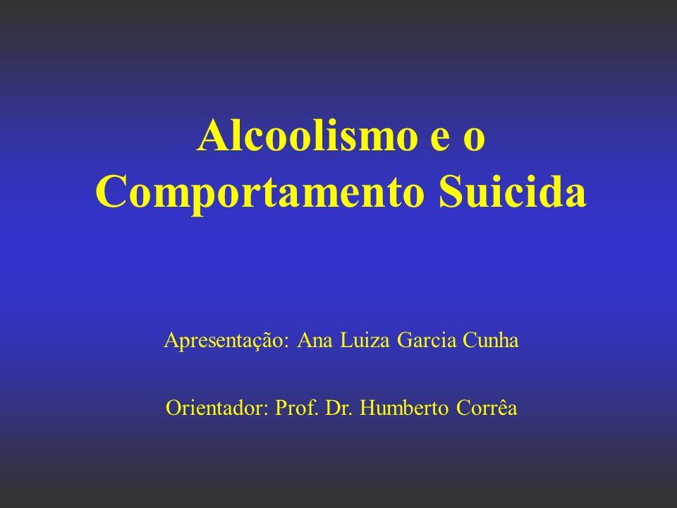 Alcoolismo e o Comportamento Suicida Apresentação: Ana Luiza Garcia Cunha Orientador: Prof. Dr. Humberto Corrêa