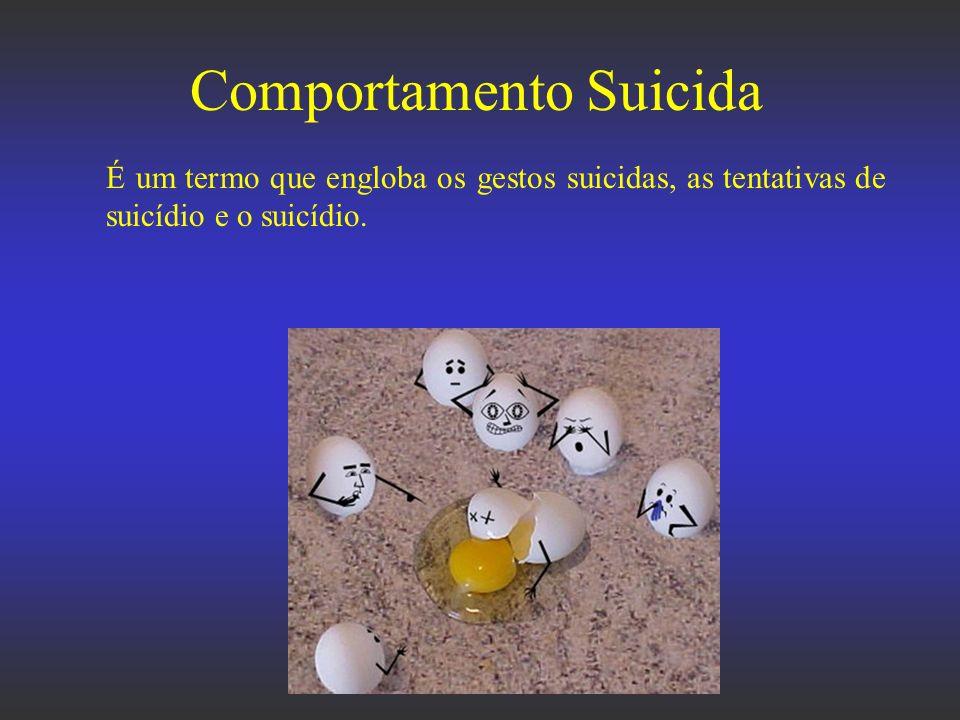 Comportamento Suicida É um termo que engloba os gestos suicidas, as tentativas de suicídio e o suicídio.