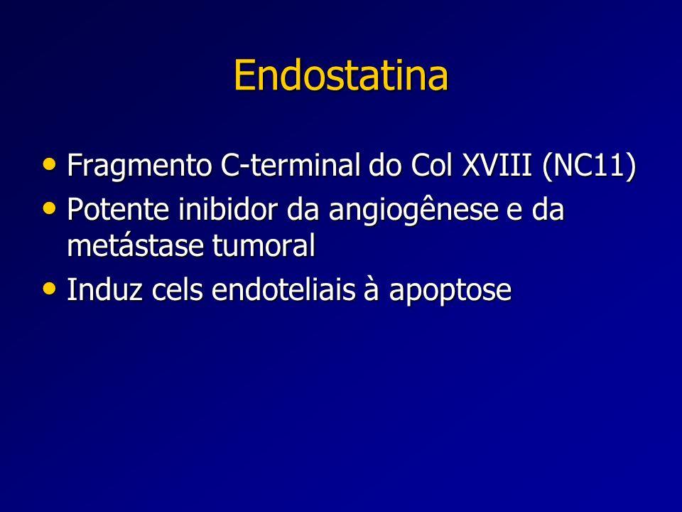 Endostatina Fragmento C-terminal do Col XVIII (NC11) Fragmento C-terminal do Col XVIII (NC11) Potente inibidor da angiogênese e da metástase tumoral P