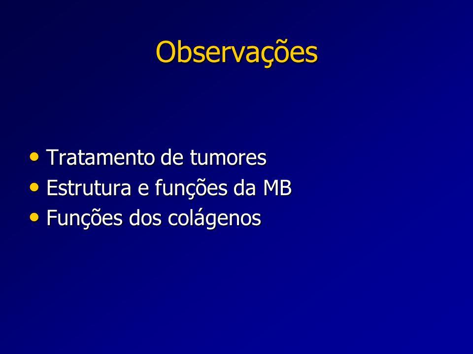 Observações Tratamento de tumores Tratamento de tumores Estrutura e funções da MB Estrutura e funções da MB Funções dos colágenos Funções dos colágeno
