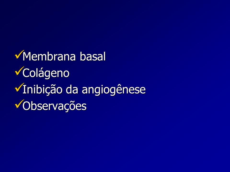 Membrana Basal Conceito Membrana basal: estrutura especializada da MEC Membrana basal: estrutura especializada da MEC Forma foliar (50-100 nm de espessura) Forma foliar (50-100 nm de espessura) Presente na interface mesênquima/epitélio de vários tecidos Presente na interface mesênquima/epitélio de vários tecidos