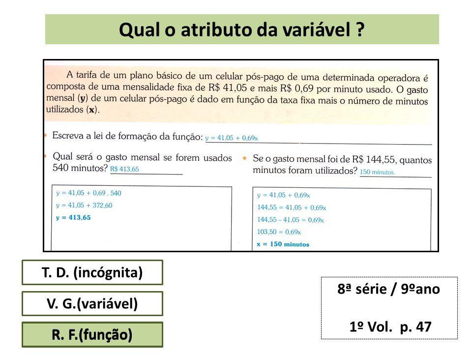 V.G.(variável) R. F.(função) 8ª série / 9ºano 1º Vol.