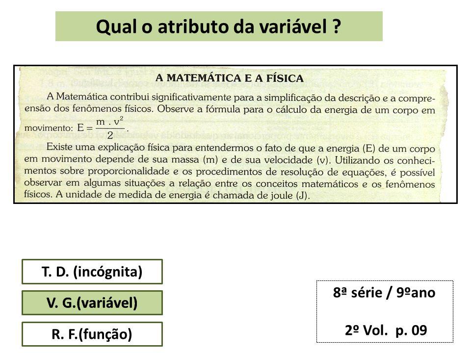 Qual o atributo da variável . T. D. (incógnita) V.