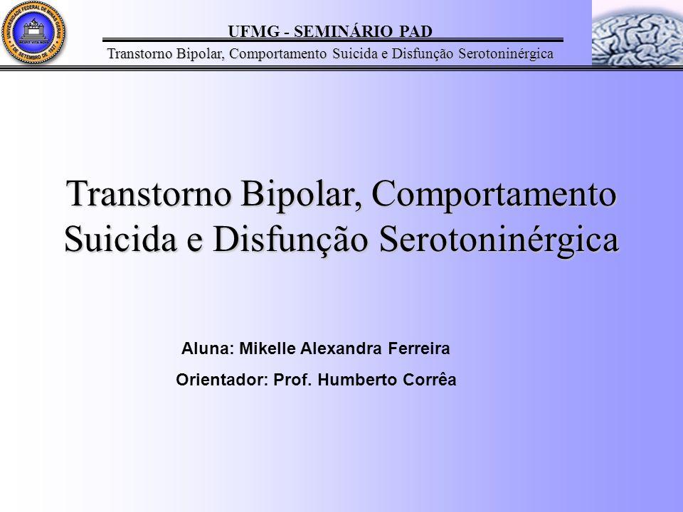UFMG - SEMINÁRIO PAD Transtorno Bipolar, Comportamento Suicida e Disfunção Serotoninérgica Aluna: Mikelle Alexandra Ferreira Orientador: Prof.