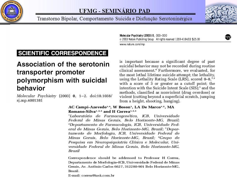 UFMG - SEMINÁRIO PAD Transtorno Bipolar, Comportamento Suicida e Disfunção Serotoninérgica Gen do transportador de serotonina ( 5HTTLPR) Localizado no