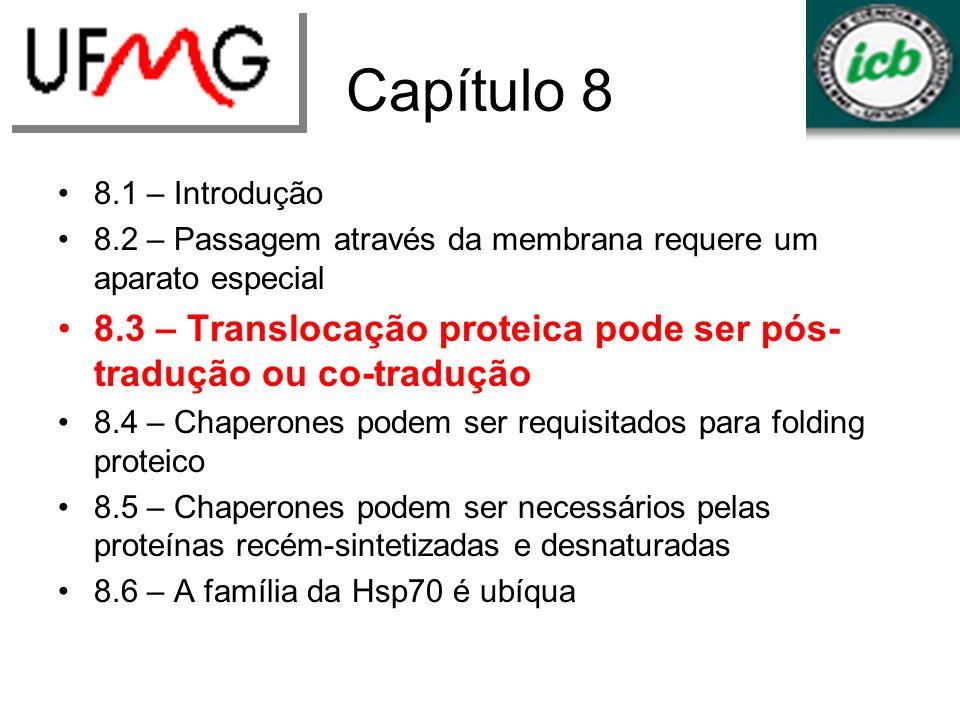 Capítulo 8 8.1 – Introdução 8.2 – Passagem através da membrana requere um aparato especial 8.3 – Translocação proteica pode ser pós- tradução ou co-tr