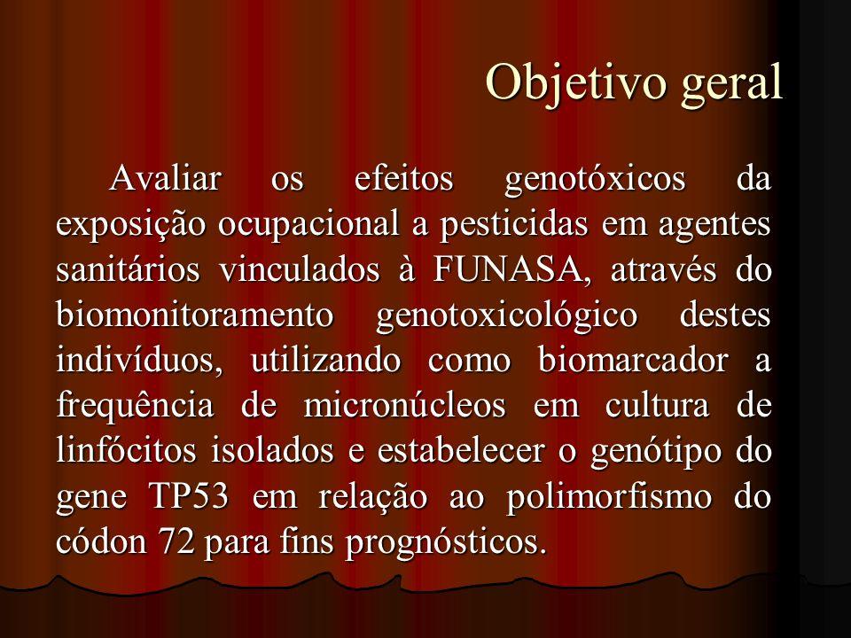 Objetivo geral Objetivo geral Avaliar os efeitos genotóxicos da exposição ocupacional a pesticidas em agentes sanitários vinculados à FUNASA, através