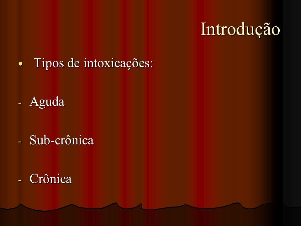 Introdução Introdução Tipos de intoxicações: Tipos de intoxicações: - Aguda - Sub-crônica - Crônica