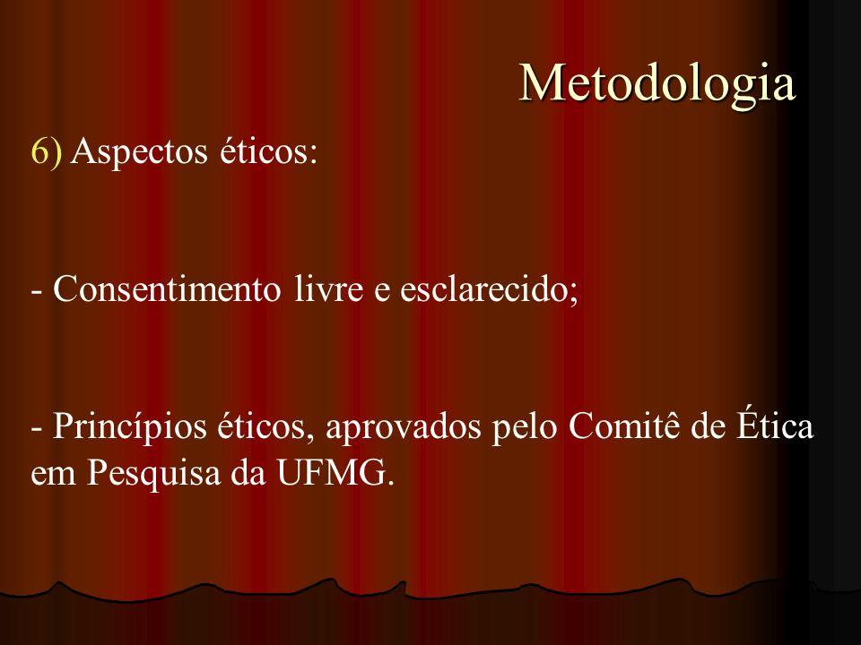 Metodologia Metodologia 6) Aspectos éticos: - Consentimento livre e esclarecido; - Princípios éticos, aprovados pelo Comitê de Ética em Pesquisa da UF