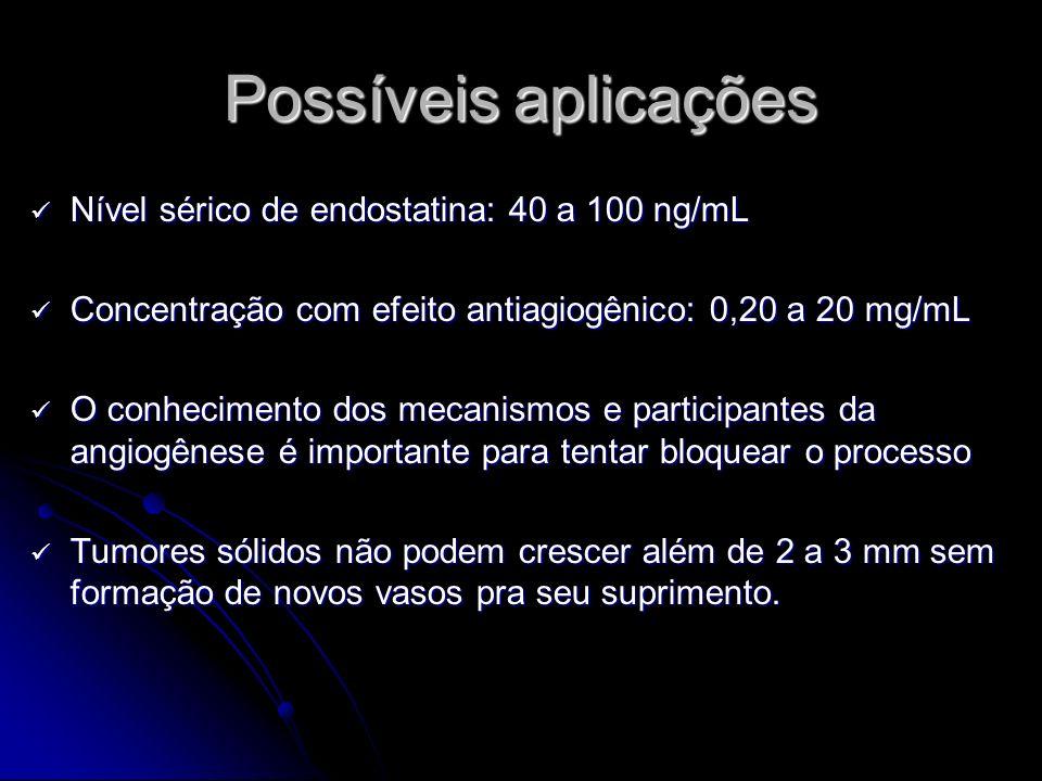 Possíveis aplicações Nível sérico de endostatina: 40 a 100 ng/mL Nível sérico de endostatina: 40 a 100 ng/mL Concentração com efeito antiagiogênico: 0