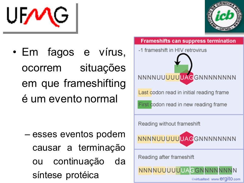 Em fagos e vírus, ocorrem situações em que frameshifting é um evento normal –esses eventos podem causar a terminação ou continuação da síntese protéica –Ex.