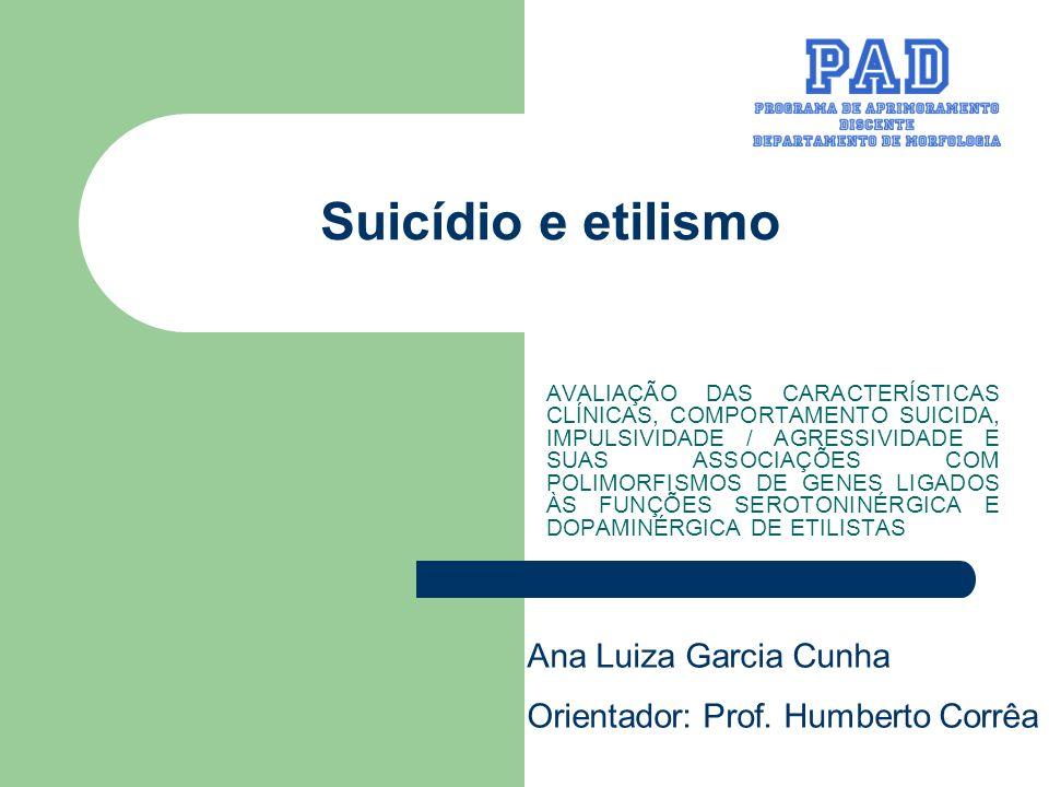Suicídio e etilismo AVALIAÇÃO DAS CARACTERÍSTICAS CLÍNICAS, COMPORTAMENTO SUICIDA, IMPULSIVIDADE / AGRESSIVIDADE E SUAS ASSOCIAÇÕES COM POLIMORFISMOS