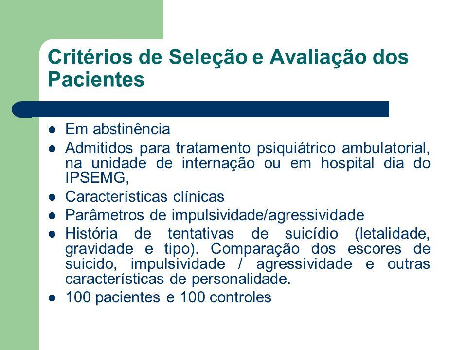 Critérios de Seleção e Avaliação dos Pacientes Em abstinência Admitidos para tratamento psiquiátrico ambulatorial, na unidade de internação ou em hosp